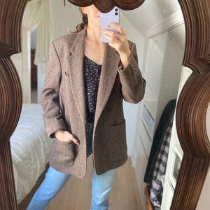 Vintage Brown Wool Herringbone Blazer